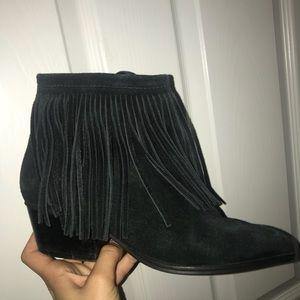 Schutz low fringe boots
